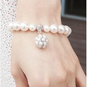 Жемчужный браслет (цвет - серебро)