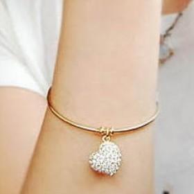 Браслет с сердечком (Swarovski crystal) - цвет золото