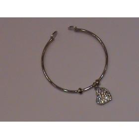 Браслет с сердечком (Swarovski crystal) - цвет серебро