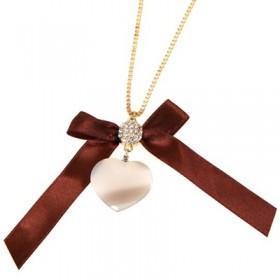Кулон Сердце с бантом и с кристаллами Swarovski