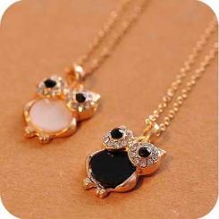 Кулон Сова черный с кристаллами Swarovski (цвет металла полностью идентичен золоту)