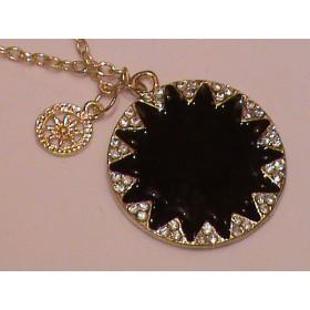 Кулон Черный круг с кристаллами