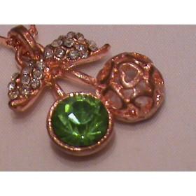 Кулон Вишня с зелёным камнем и кристаллами