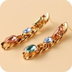 Серьги ЭЛИТНЫЕ с крупными кристаллами - цвет металла полностью идентичен золоту