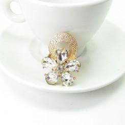 Кольцо Swarovski цветок с белыми кристаллами