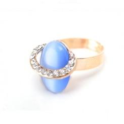Кольцо Элитное с кристаллами Swarovski и синим камнем